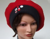Clearance: Red and Black Tam Beret, Premium Sherpa Fleece,  Fanciful Button Collection, Women L to XL