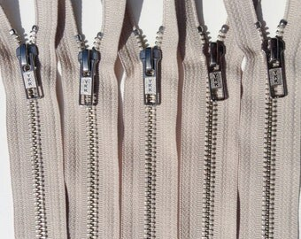 Metal Zippers- closed bottom ykk nickel teeth zips- (5) pieces - 572 Beige- Number 5s- Available in 9, 12, and 18 Inches