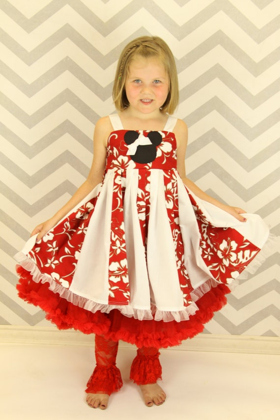 custom boutique minnnie mouse inspired hawaiian twirl dress  size 2-6