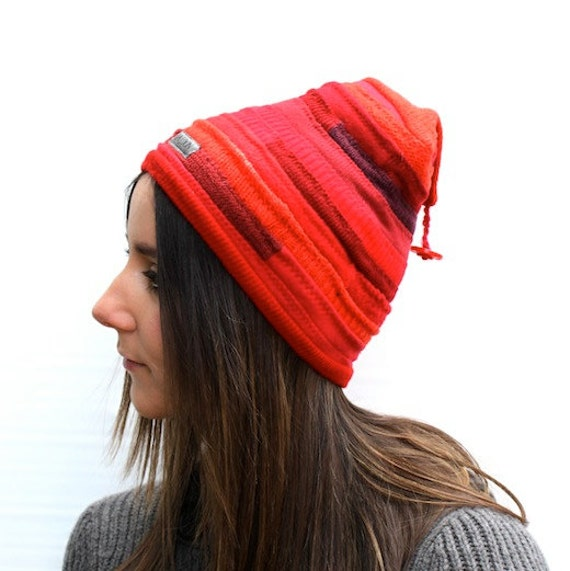 Red Wool and Knit  Eco Friendly Pixie Beanie Size M Adult Unisex On Sale