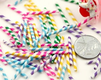 Fake Straws - 23mm Tiny Fake Straws or Candy Sticks Fimo Cabochons - for making fake sweets – 10 pc set