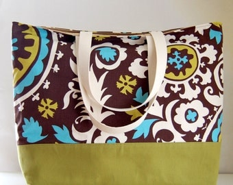 Brown and Turquoise Suzani XL Extra Large Beach Bag / BIG Tote Bag - Ready to Ship