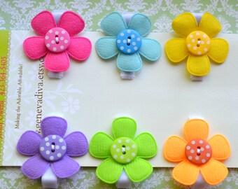 Set of 6 Rainbow colored felt and polka-dot hairclips