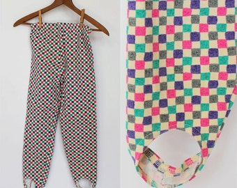 SALE - 80's Womens or Girls Leggings with Stirrups / Purple & Pink Check / XXSmall