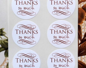 Stickers Thanks So Much  Elegant Wedding Party Favor Treat Bag Sticker Business Supplies SP025