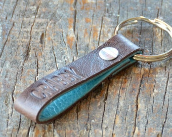 Personalized Distressed Brown and Turquoise Leather Keychain - Long & Skinny Style