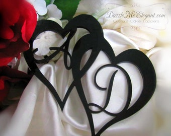 Heart Cake Topper - Two Hearts Cake Topper - Double Heart Cake Topper - Wedding Cake Topper - Personalized Monogram Letter - Bride and Groom