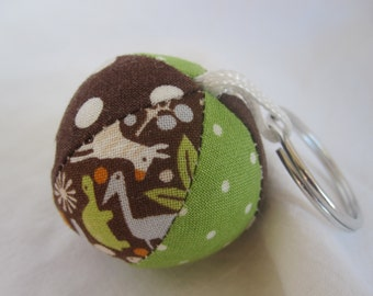 Cloth Mini Jingle Ball Keychain with Teeny Tiny 2D  Zoo fabric