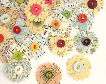 Vintage Paper Flowers, Handmade Vintage Embellishments, Paper Flowers, Scrapbook Paper Flowers, Daily Planner, Project Life, Set of 9