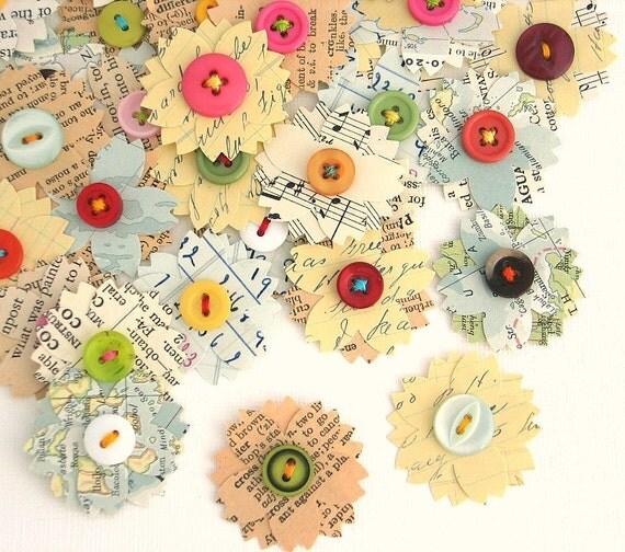 Vintage Paper Flowers Handmade Vintage Embellishments Paper