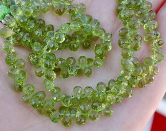 Excelent Bright Spring Green Gem Peridot Faceted Briolette Drop Beads 10 Beads set