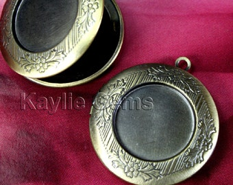 Round Locket NEW Style Oil Rubbed Antique Brass Cameo Cabochon Setting Frame Victorian Style - LKRS-128ABN - 4pcs