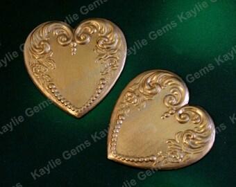 Heart Stamping Victorian Decorative 23mm Raw Brass - S754 - 4pcs