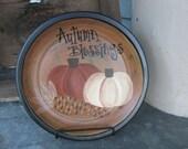 Primitive Pumpkins with Autumn Corn Hand Painted Plate GCC1956