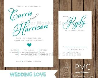 Custom Printed Wedding Invitations - 1.15 each with envelope