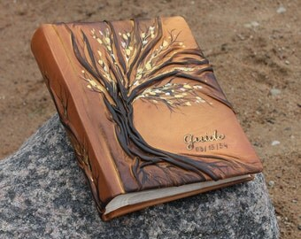 Leather photo album 10 x 7 1/2  with Tree for 200 photos