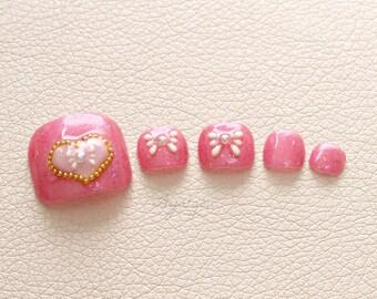 Toe nails, fake toes, pedicure, pink nail, heart, Japanese 3D nails, sweet lolita, lolita nail, lolita accessory, kawaii gift, made in Japan