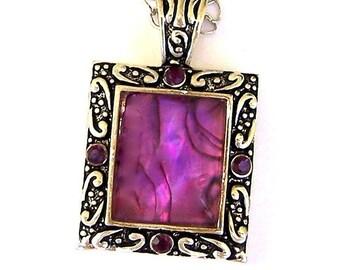 Large purple pendant, antiqued silver, Swarovski crystals, vintage inspired