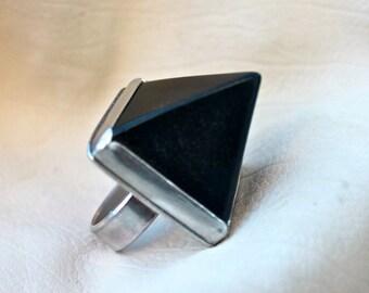 Black Pyramid Onyx Ring