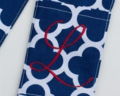 Camera Strap Cover- lens cap pocket and padding included- Monogrammed Navy Quatrefoil