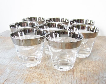 silver mad men rocks glasses, vintage 60s silver rimmed rocks glasses, mid century whiskey glasses