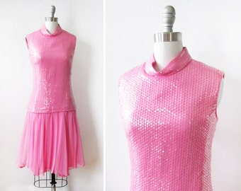 60s pink drop waist dress, vintage 1960s pink sequin dress, mid century party dress