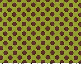 Michael Miller Loden Ta Dot - Avocado and Brown Polka dots - 1 yard