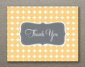 Bright Mustard Yellow and Gray Thank You Cards - Tabitha