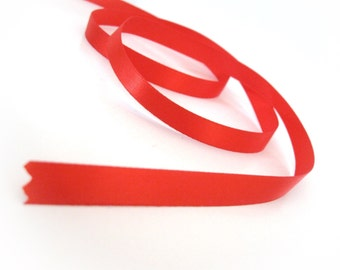 "Red Satin Ribbon 3/8"" for gift packaging or crafting - 10 meters / 32.8 ft"