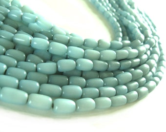Natural beads soft blue buri nut tube beads 11x7mm (PN202B)