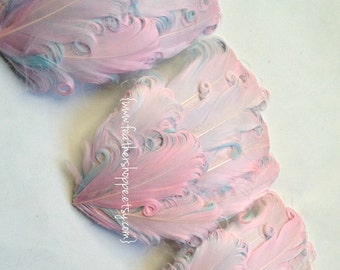 CLEARANCE - Imperfect Pink on Aqua Curled Goose Pads - 3.00 ea