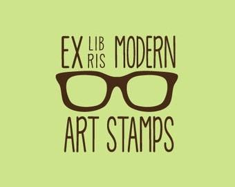 Custom Rubber Stamp   Custom Stamp   Personalized Stamp   Teacher Gifts   Ex Libris Stamp   Vintage Glasses Stamp   C257