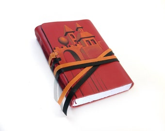 Red Leather Journal, Castle Journal - Notebook, Diary