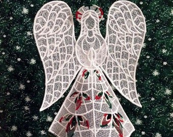 Plaid Heather Lace Angel Tree Topper