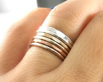 Custom Stack Rings, Stack Rings, Set Of 2 Stack Rings,  Silver Stack Rings, Rose Gold Filled Stack Rings, Gold Filled Stack Band Rings