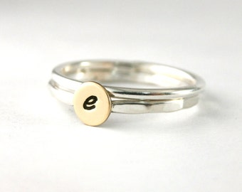 Stack Rings, Custom Initial Ring And Band,  Initial Ring, Brass Initial Ring, Or Sterling Silver Ring And Band Set Of 2