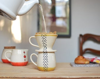 MADE TO ORDER Wheel Thrown Pour Over Coffee Mug Set in Mustard Arrows