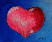 Pink Heart with a Blue Background, Original Wall Art Painting