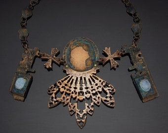 Neo Victorian Styled Necklace with Opals... Berlin Iron, Steampunk, Gothic, Romantic,
