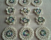 CUSTOM ORDER FOR rwikow1,  24 Sets of White Cotton Crochet Embellishments, hand-beaded