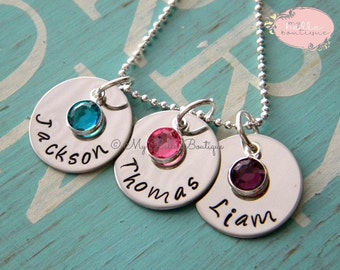 Personalized Hand Stamped Triple Disc Names and Birthstones Necklace