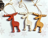 3 Christmas reindeer with golden and silver dots hanging decoration Holiday ornament