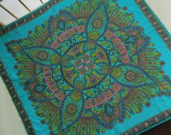 """100% Rayon Scarf Floral Green Blue Pink Vivid Handrolled 25"""" Square Vintage"""