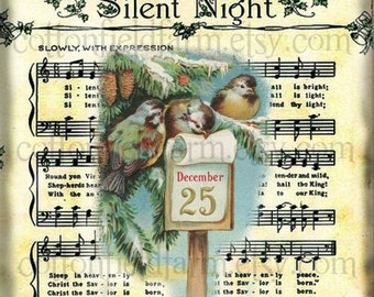 Silent Night Snow Birds Digital Sheet C-498 Large 5 X 7  for Pillows, Aprons, Totes, Stockings, Decoupage, ECS,
