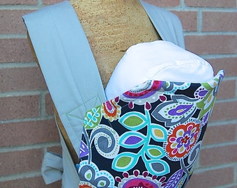 Reversible Mei Tai Carrier - Rainbow Stripes and Bright Flowers