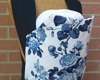 Reversible Mei Tai Carrier - Country Blue Flowers and Blue Gingham