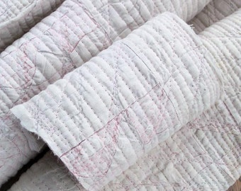 Quilt Custom Mat Set Art Textile Primitive Quilted White Lending Pink Six Piece One Of A Kind Find