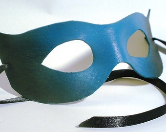 Teal to Black Leather Mask