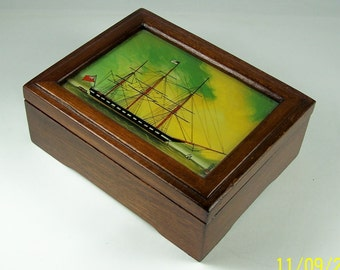 Fine English Antique Handpainted Mahogany Box With Naval Ship Portrait