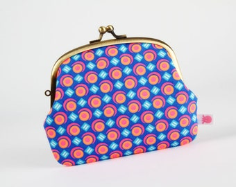 Metal frame purse with two sections - Luna Outremer - Pop up / Petit Pan french fabric / Ultramarine blue / Neon orange pink / turquoise